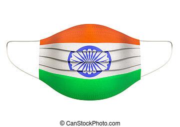Medical Mask with Indian flag. 3D rendering
