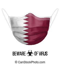 Medical Mask with National Flag of Qatar as Icon on White. ...