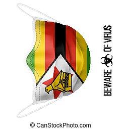 Medical Mask with National Flag of Zimbabwe. Protective Mask...