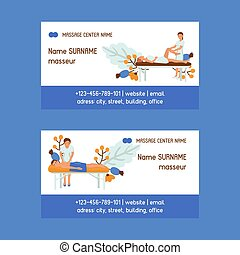 Medical massage set of business cards vector illustration. Osteopaths performing treatment manipulations or massaging their patients. Set of specialists in osteopathy, chiropractic.
