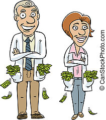 Medical Money - Two cartoon doctors with pockets overflowing...