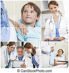 Medical Montage Men Women & Child Hospital Patients
