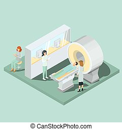 Medical MRI scanner, medical personnel and patient isometric projector vector