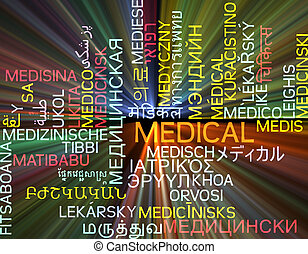Medical multilanguage wordcloud background concept glowing