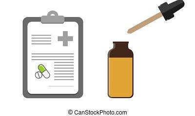 medical natural cannabis cbd oil on prescription illustrated...