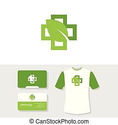 Medical nature logo business card and t shirt design template