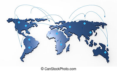 medical network as concept - 3d world map medical network as...