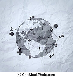 medical network on crumpled paper