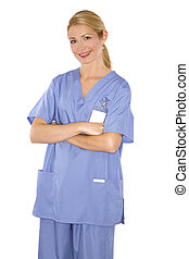 medical nurse - blond healthcare worker wearing blue scrubs...