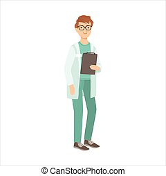 Medical Nurse Man, Part Of Happy People And Their Professions Collection Of Vector Characters