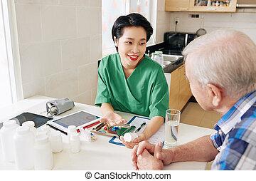 Medical nurse visiting senior patient