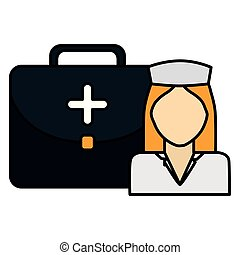 medical nurse with medical kit