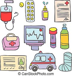 Medical object of doodle set
