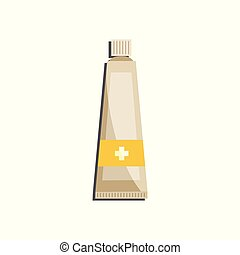 Medical ointment or cream in plastic tube with cross isolated on white background.