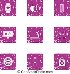 Medical oversight icons set, grunge style - Medical...