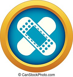 Medical patch icon blue vector isolated