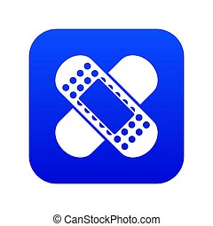 Medical patch icon digital blue