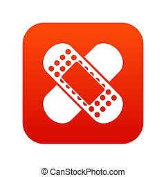 Medical patch icon digital red