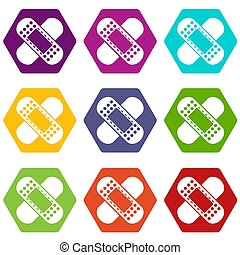 Medical patch icon set color hexahedron