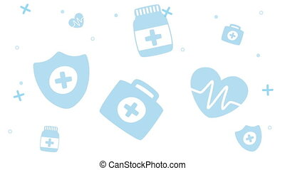 medical pattern set icons animation