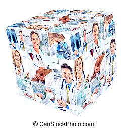 Medical people group. Cube collage background.