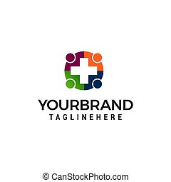 medical people logo design concept template vector