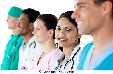 Medical people showing diversity in a line