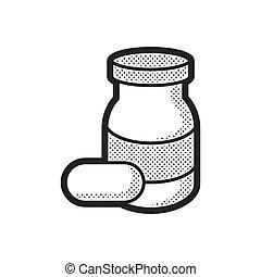 Medical Pharmacist, pill bottle icon