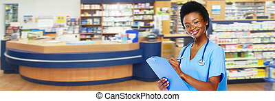 Medical pharmacist woman.