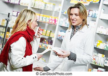 medical pharmacy drug purchase - pharmacist suggesting...