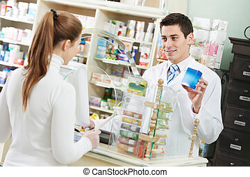 medical pharmacy drug purchase - pharmacist suggesting ...