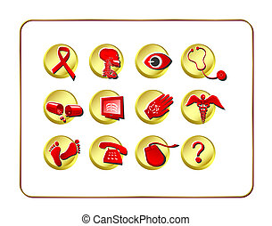 Medical & Pharmacy Icon Set - Golden-Red-2