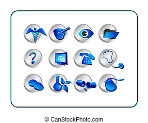 Medical & Pharmacy Icon Set - Blue-Silver