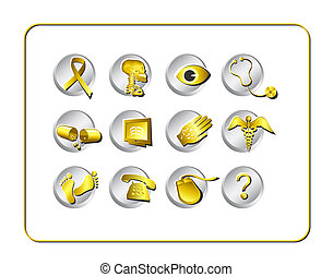 Medical & Pharmacy Icon Set. Digital illustration. Contains...