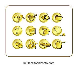 Medical & Pharmacy Icon Set, Golden.