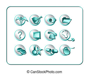 Medical & Pharmacy Icon Set - Teal-Silver