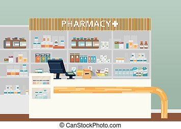 Medical pharmacy or drugstore interior design. Chemist or ...