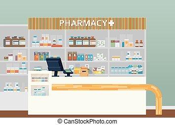 Medical pharmacy or drugstore interior design. Chemist or ...