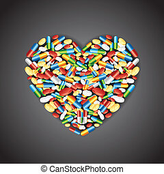 Medical pill forming Heart
