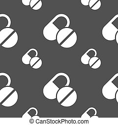 Medical pill icon sign. Seamless pattern on a gray background. Vector