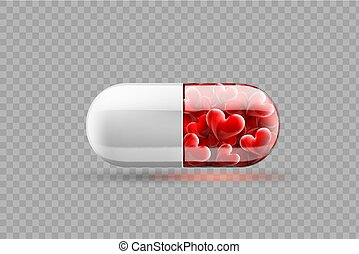 Medical pill with red hearts inside. Isolated on a transparent background.