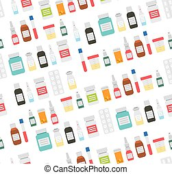 Medical pills and Drugs in Seamless Pattern