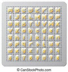 Medical pills font set