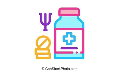 medical pills for mental disorder Icon Animation. color medical pills for mental disorder animated icon on white background