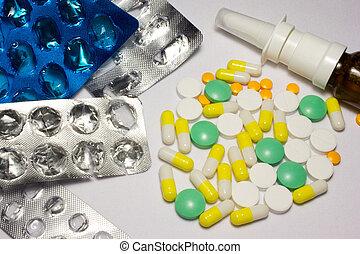 Medical pills on white background