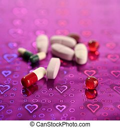 medical pills over holographic purple