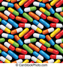 Medical pills seamless pattern. - Medical pills seamless...