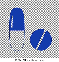 Medical pills sign. Blue icon on transparent background.