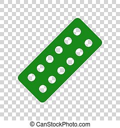 Medical Pills sign. Dark green icon on transparent background.