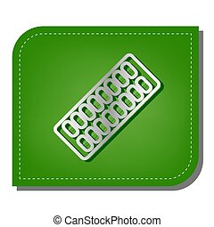 Medical Pills sign. Silver gradient line icon with dark green shadow at ecological patched green leaf. Illustration.